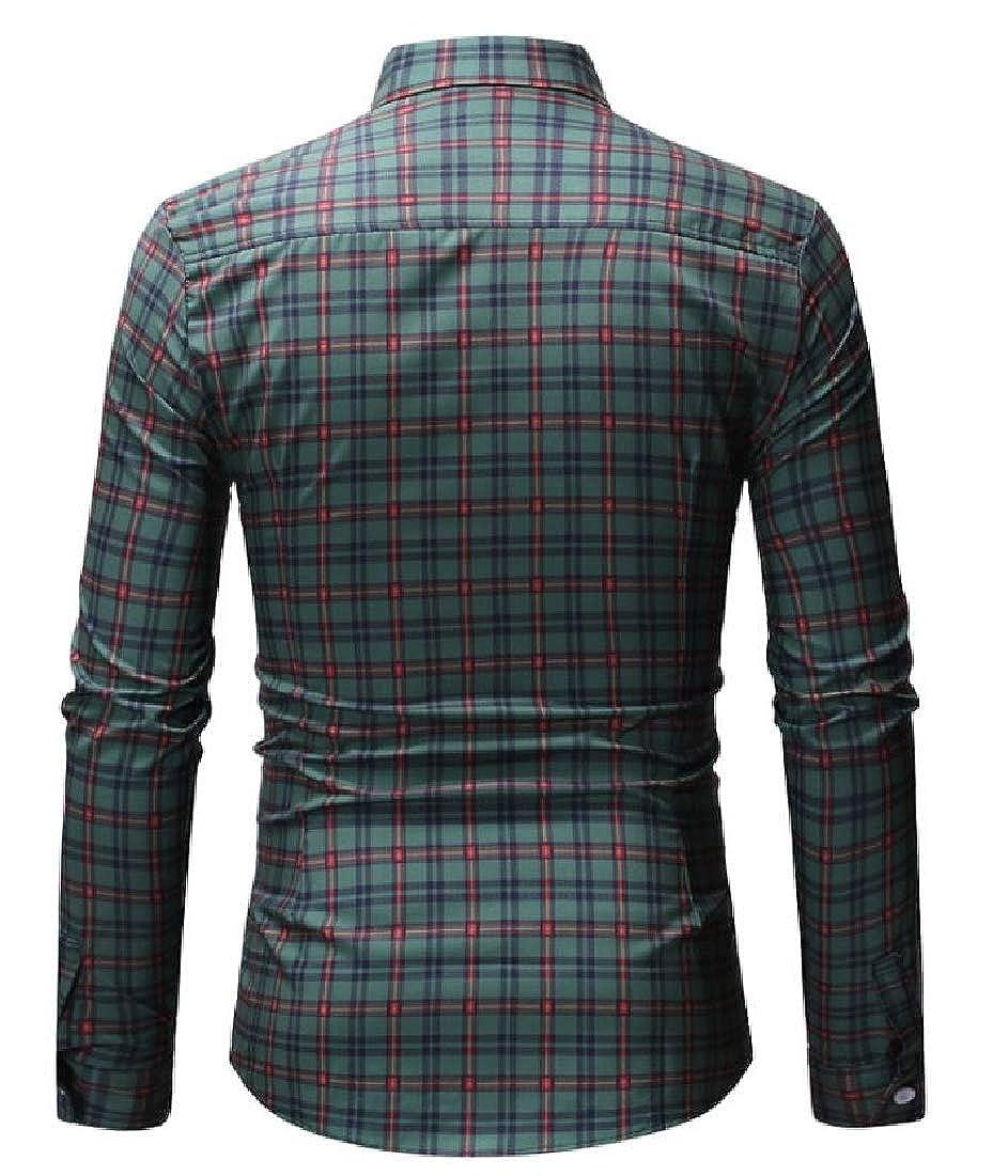 Zantt Mens Buttons Basic Long Sleeve Business Plaid Check Dress Shirts