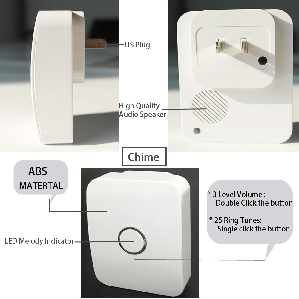 WGOAL Kinetic Wireless Doorbell Kits, No Battery & Wi-Fi Required for Push Button and Chime,Self-powered Transmitter and AC110-120V Receiver,IPX7 Waterproof,393.7 FT Range, 25 Chimes (White) by WGOAL (Image #3)