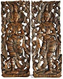 "Sawaddee Thai Traditional Figure Wall Art Panel. Asian Wood Wall Decor Welcome Sign. 35.5""x13.5""x1'' Each, Set of 2 Pcs (Brown)"