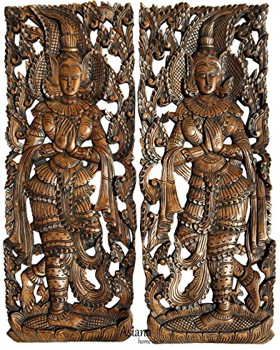 "Sawaddee Thai Traditional Figure Wall Art Panel. Asian Wood Wall Decor Welcome Sign. 35.5""x13.5""x1'' Each, Set of 2 Pcs (Brown) by Asiana Home Decor"