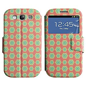 AADes Scratchproof PU Leather Flip Stand Case Samsung Galaxy S3 III i9300 ( Hexagon Pattern )