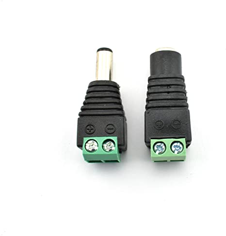 20PCS Male Female 2.1x5.5mm DC Power Jack Plug Adapter Connector for CCTV LED US