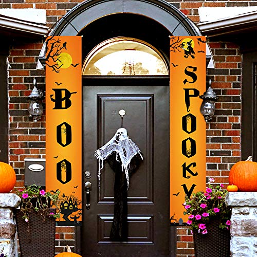 Boo Signs For Halloween (Whaline Boo Spooky Halloween Porch Sign Banners, Indoor/Outdoor Decorative Hanging Sign for Home Office Front Door Porch Welcome Halloween Decorations)