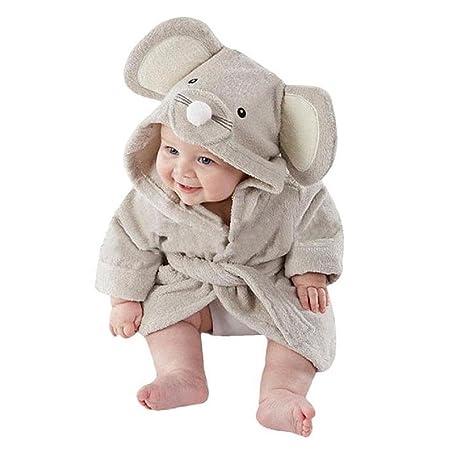 Bebé albornoz de tiburón, AOLVO algodón suave bebé toallas de baño de albornoz con capucha cute cartoon animal face para niños 0 – 36 meses 1 Talla:S