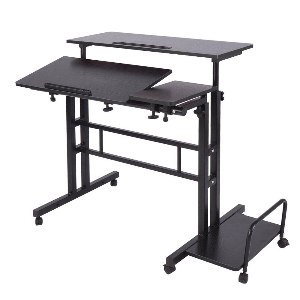 DlandHome Sit-Stand Laptop Tavolo da Tavolo Mobile Regolabile in Altezza Sit to Stand Scrivania Riser Tavolo da Lavoro Workstation Mobile, Maple