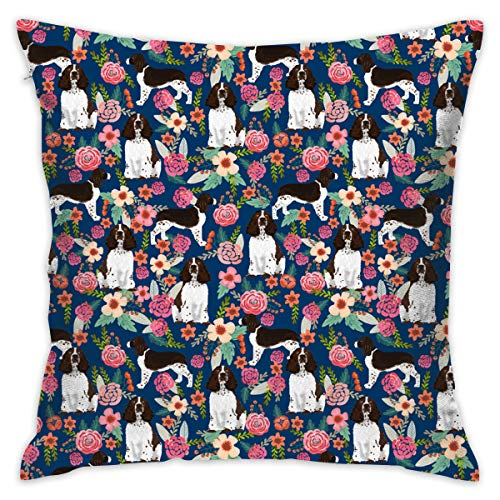 ONUPMIN Pillow Covers 18 X 18 Inch English Springer Spaniel and Retro Floral Decorative Square Throw Pillow Cover Cushion Case Sofa Durable Modern Stylish Polyester Throw Cushion Covers Hidden - Pillow Springer Spaniel