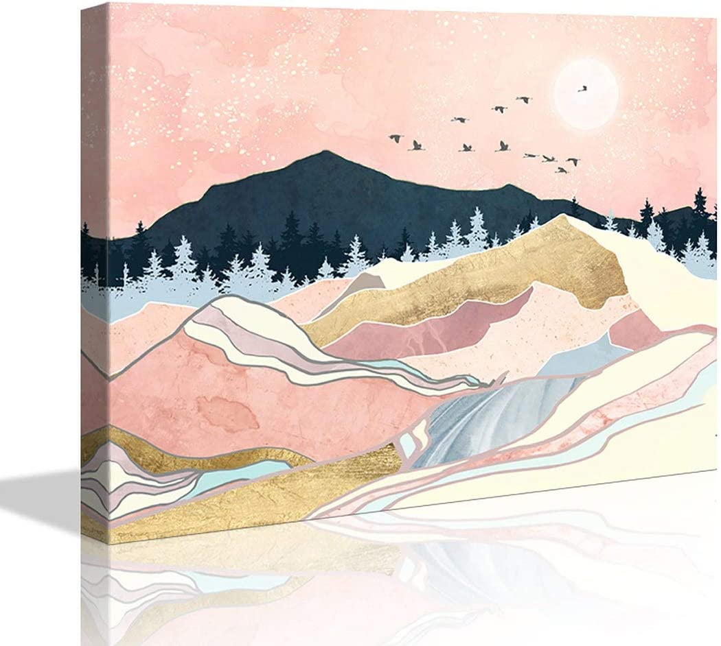 Bathroom Decor Room Pink Moon Geometric Mountain Canvas Wall Decor for Home Artwork Painting 12