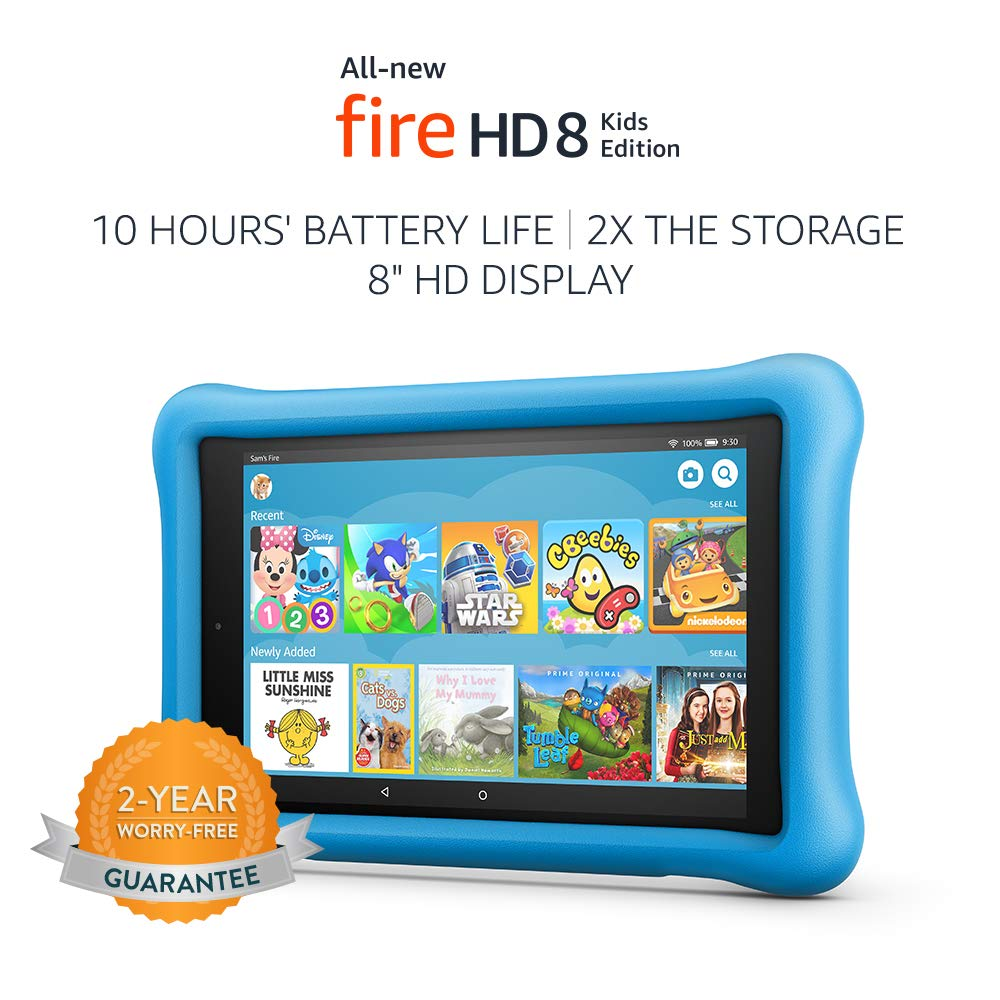 All-New Fire HD 8 Kids Edition Tablet, 8″ HD Display, 32 GB, Blue Kid-Proof Case