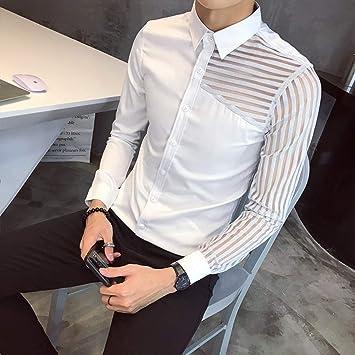 MKDLJY Camisas Camisas Casuales Camisa de Encaje para Hombre Fiesta de graduación Ver a través de Hombres Camisa Slim Fit Negro Blanco Camisa de Club Social Chemise Homme Hombres 3XL: Amazon.es: Deportes