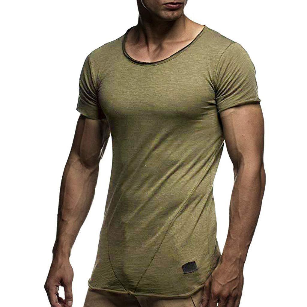 Winsummer Mens Cotton Breathable Athletic Undershirt Slim Fit Casual Short Sleeve T-Shirt Summer Man Tee Army Green