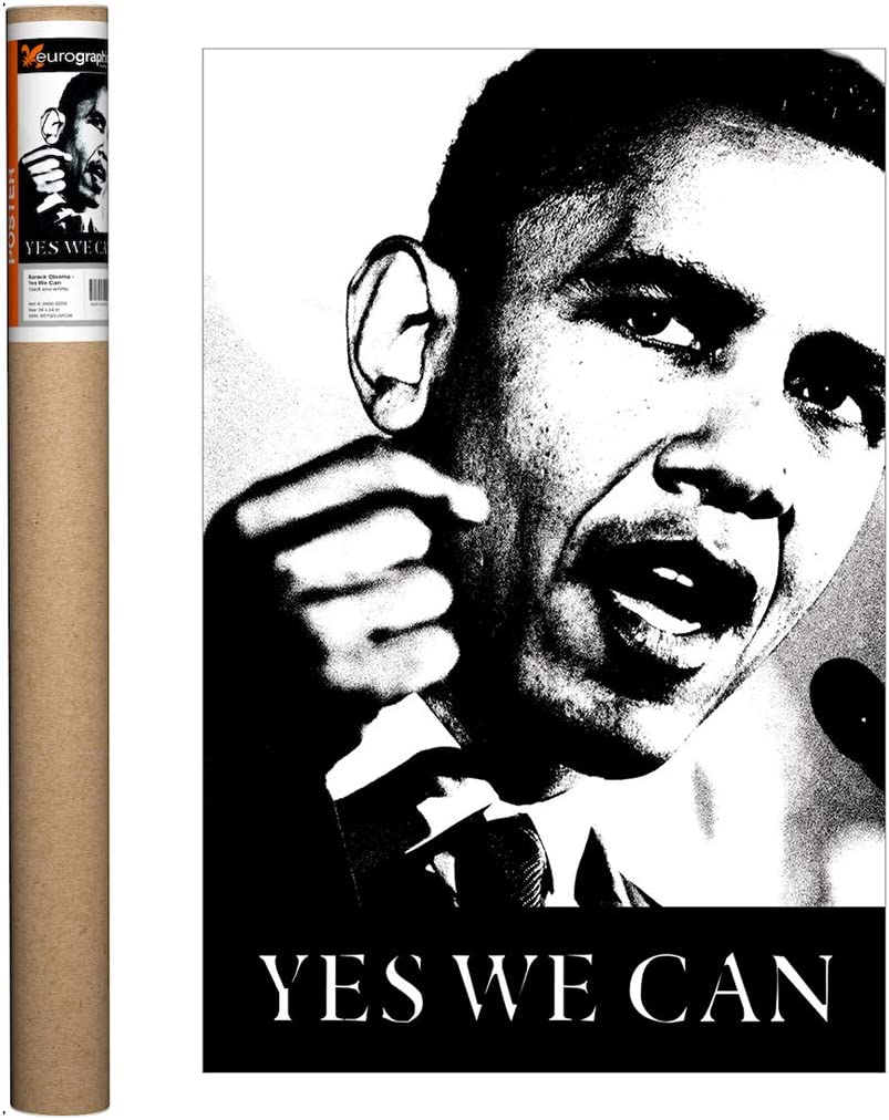 Amazon Com Eurographics Obama Yes We Can Bw Poster 36 X 24 Inch Posters Prints