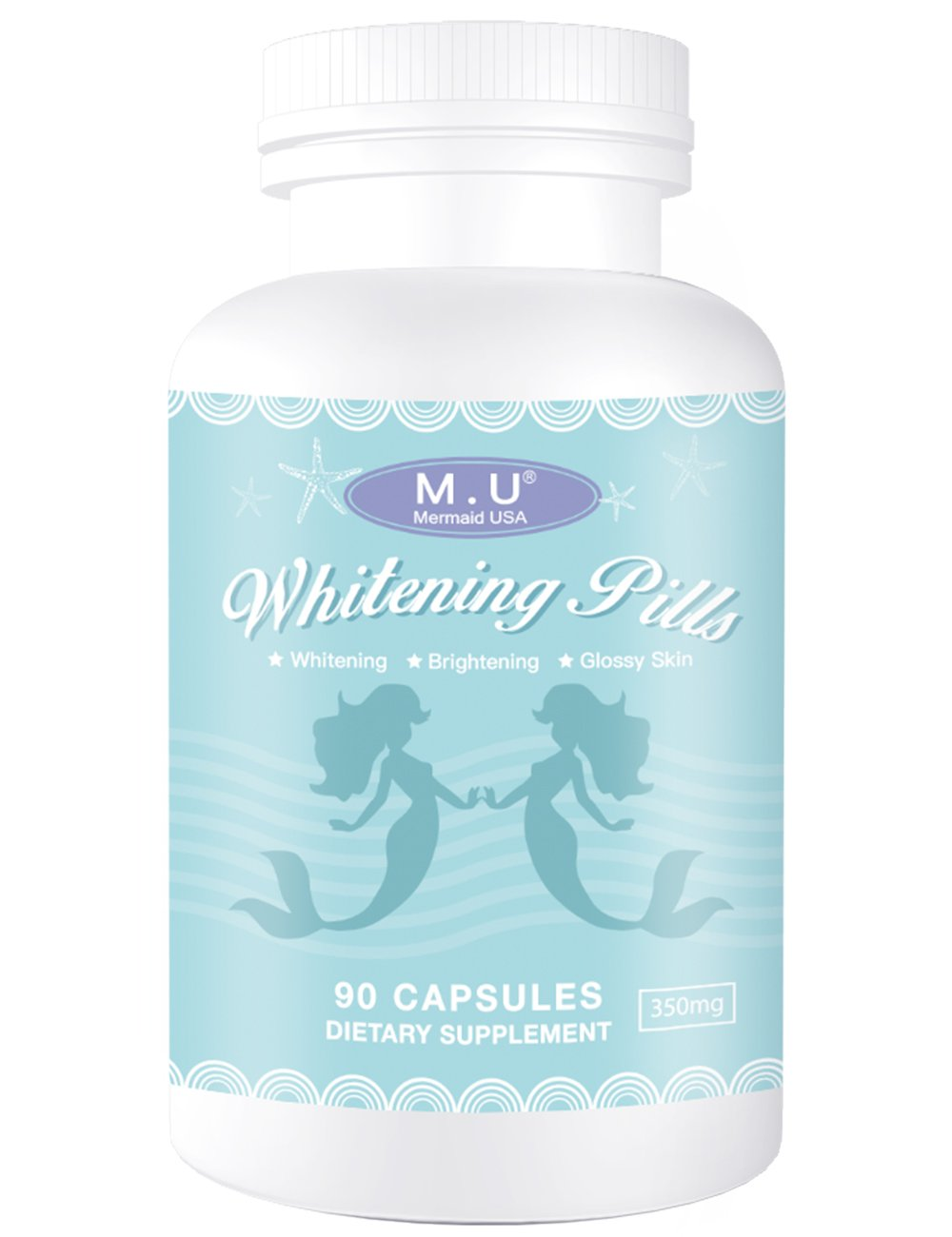 M.U Mermaid USA Whitening Pills for Skin 3 Times Effect of glutathione, Focus on Glowing brightening Smoothy Skin Support Dark spot Remover Acne Scar Remover by M.U (Image #1)