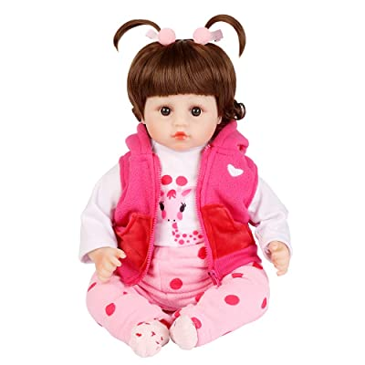 UCanaan Reborn Baby Dolls 22 Inch Lifelike Baby Reborn Toddler Girl Full Silicone Body Toy with Gift Set: Toys & Games