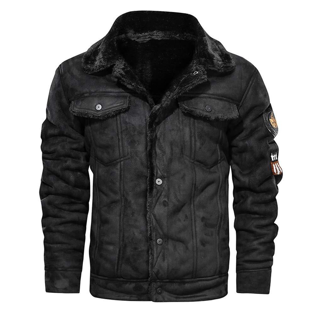 wuliLINL Coats Faux Leather Outwear Jacket Men Vintage Flannel Lining Turn-Down Collar Outercoat Overcoat(Black,XXL) by wuliLINL