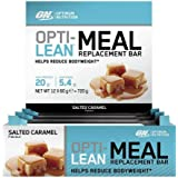 Optimum Nutrition Opti-Lean Meal Replacement Protein Bar with Vitamin B12, Vitamin C and Vitamin D and High Fibre. Protein Meal Replacement by ON - Salted Caramel, Pack of 12, 60g