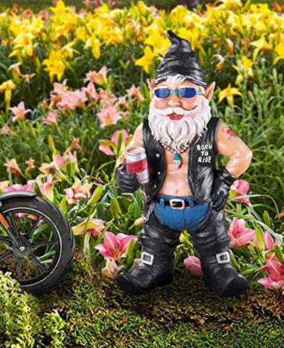 CT DISCOUNT STORE Tough Gnome Born to Ride Biker Dude Indoor Outdoor Decor (Wheel is not Included)