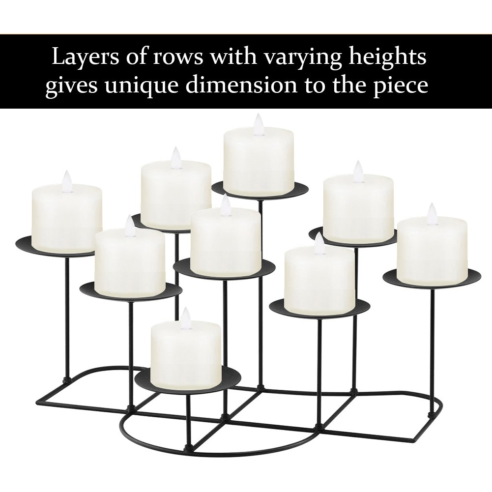 smtyle DIY 9 Mantle Candelabra Flameless or Wax Candle Holders For Fireplace with Black Iron Decoration on Desk / Floor by smtyle (Image #2)