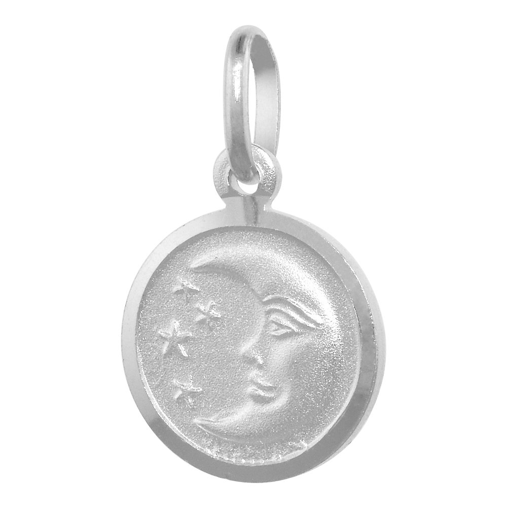 Sterling Silver Moon /& Star Necklace Round Italy 1//2 inch 0.8mm Chain