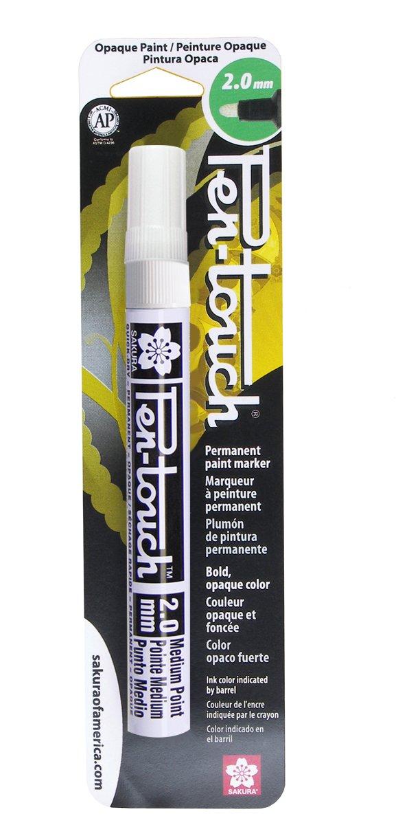 Sakura 42580 Pen-Touch White 2mm Medium Opaque Permanent Paint Marker