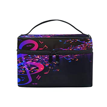 edba2d7b4983 Amazon.com : Xling Makeup Bag Colorful Abstract Music Note Cosmetic ...
