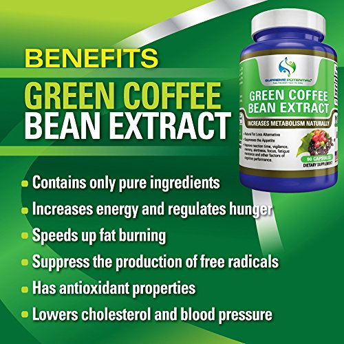 Supreme Potential 100% Pure Green Coffee Bean Extract for Natural Weight Loss and Metabolism Support - 800mg Capsules - 180 Capsules - 90 Day Supply - Manufactured in USA. by Supreme Potential (Image #1)