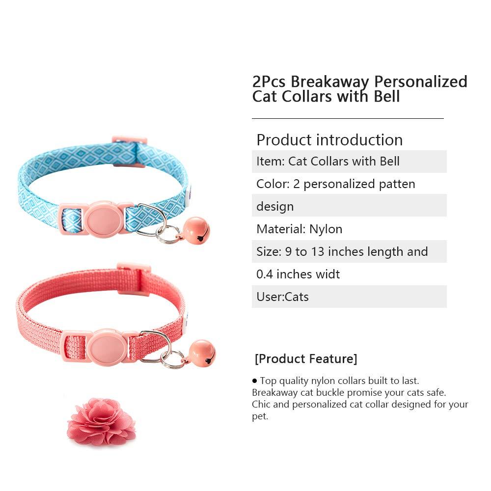 Br Bluerise 2Pcs Breakaway Katze Collars mit Glocke Adjustable Strap Kitten Collar Safety Buckle Katze Flower Collar rot Blue