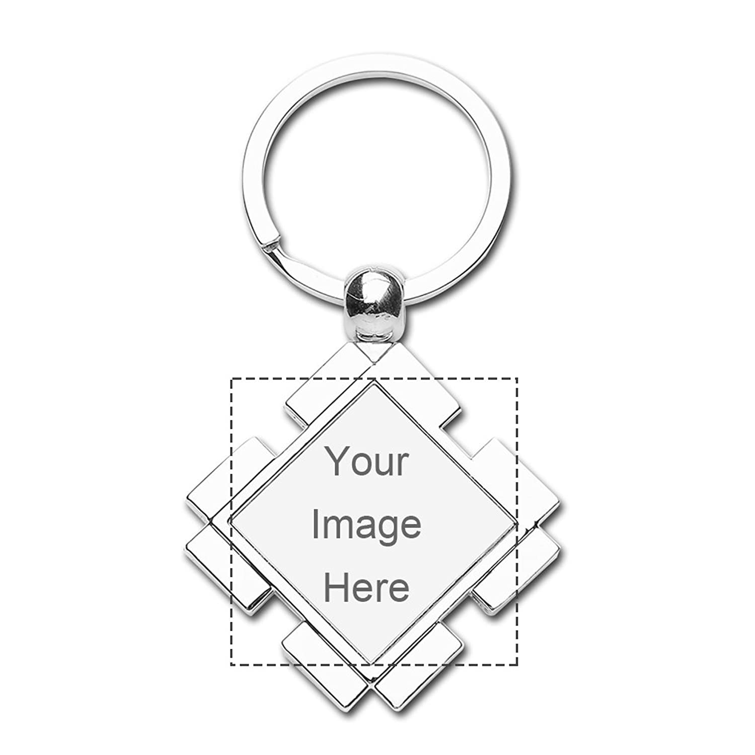 Custom Diamond Keychain Design Your Own Print Image or Message Keychain Set
