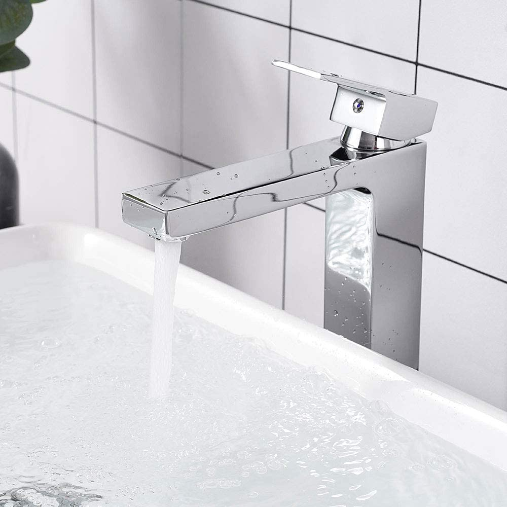 Aquaterior Modern Chrome Single Hole Tall Vessel Sink Faucet For Bathroom One Handle Mixer Faucet Diy Cupc