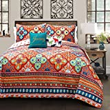 Lush Decor Lush Décor Belize 5 Piece Quilt Set, King, Turquoise and Orange