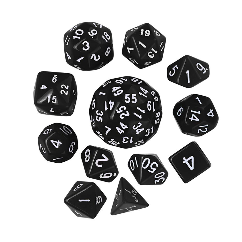 Futemo 12Pcs Game Dungeons & Dragons Polyhedral D60 Multi Sided Acrylic Dice Play Games Like Board Games , Dice Games, Party or Teaching Math (Black)