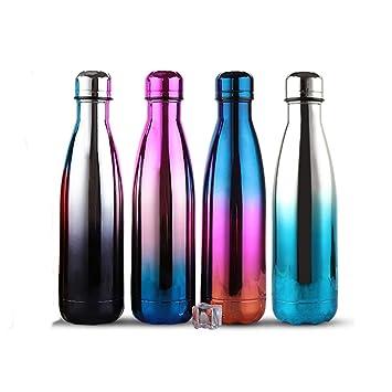 YINGJEE Botella de Agua de Acero Inoxidable 500 ML Botella de Agua devortiva de Doble Pared con Aislamiento de Gradient Color