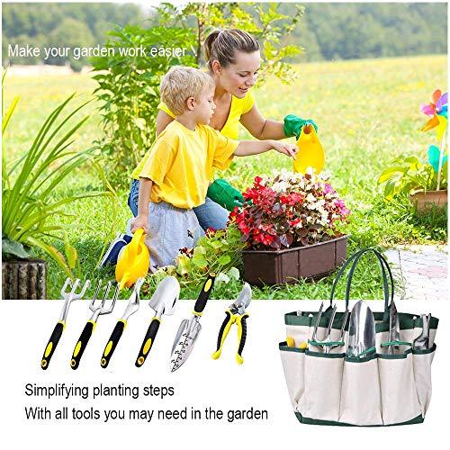 KEDA Garden Tool Set, 9 PCS gardening Tool Set for Digging Planting with Storage Organizer Tote, Garden Gloves Shove, Plant Tie, Ergonomic Gardening Gifts Tool Set for Women Men Adults by KEDA (Image #1)