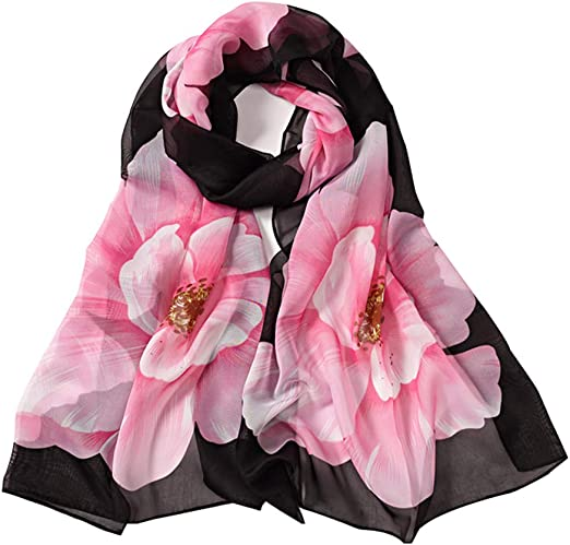 Scarf Scarves Shawl Ring Chiffon Lace Flower Plain Patterned Long Wife Mum Gift