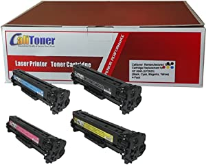 Calitoner Remanufactured Toner Cartridge Replacement for HP 304A (CP2025) (Black, Cyan, Magenta, Yellow, 4-Pack)