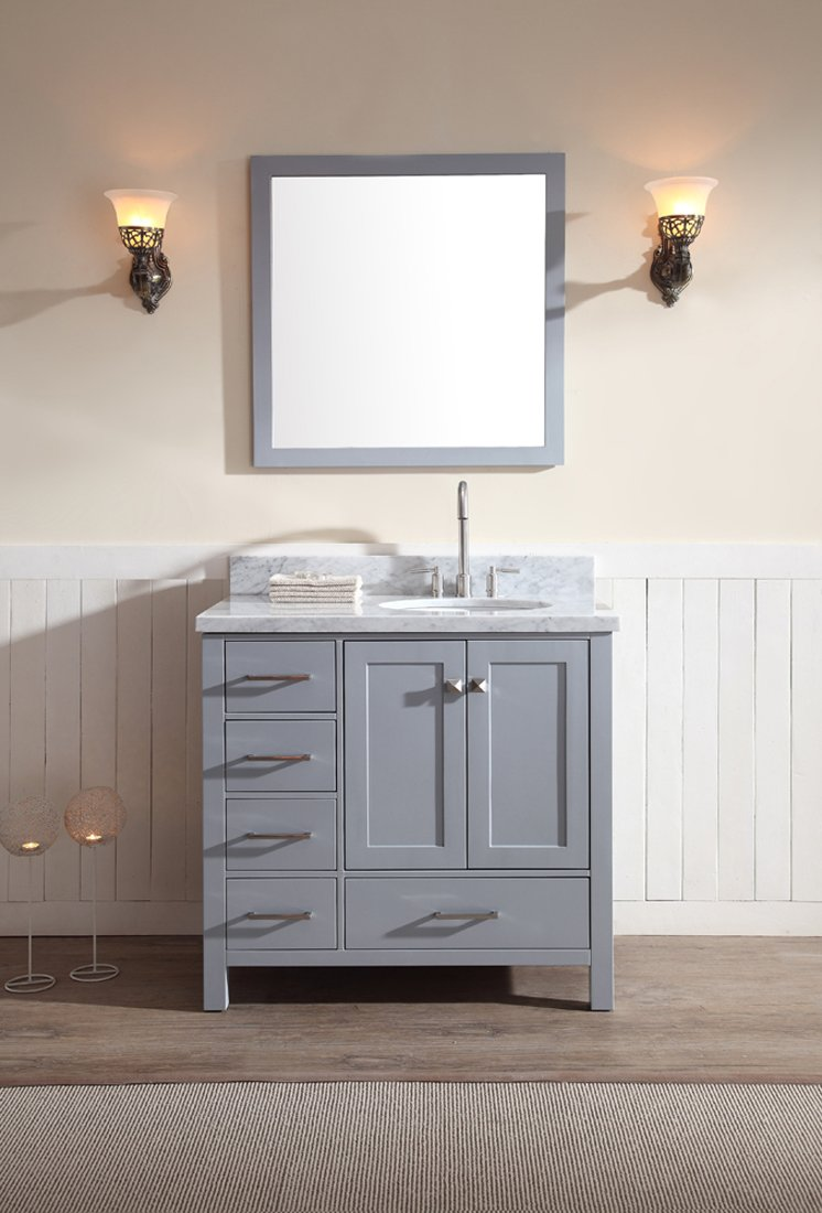 ARIEL Cambridge ASRGRY Single Sink Solid Wood Bathroom - 36 inch grey bathroom vanity