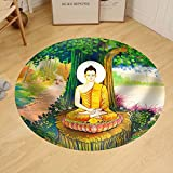 Gzhihine Custom round floor mat Traditional Thai Style Painting Art on Temple WallThailand.Generality in Thailand