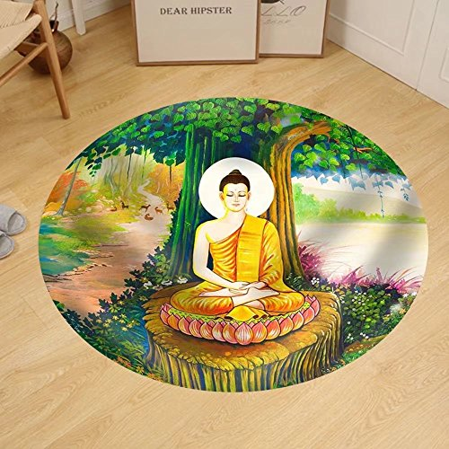 Gzhihine Custom round floor mat Traditional Thai Style Painting Art on Temple WallThailand.Generality in Thailand by Gzhihine
