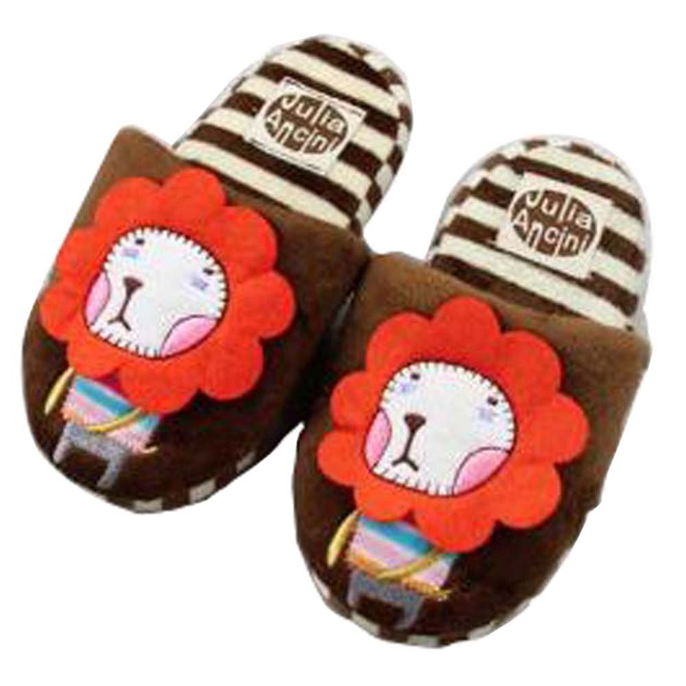 PANDA SUPERSTORE Funny Lion Slippers Warm Winter Slippers for Boys 5-9 Years Old Brown