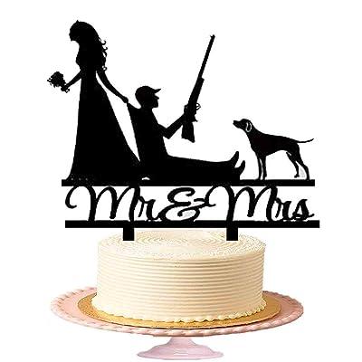 """""""Mr & Mrs"""" Drôles de gâteau de mariage, mariée Retirez le marié avec pistolet et chien, acrylique pour gâteau en noir brillant"""