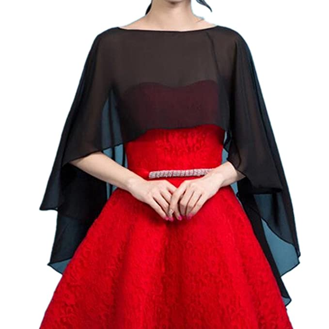 f7627ba36085d Formaldresses Long Chiffon Cape Shawl Wedding Jacket Women Shrug Bolero  Wraps Black White Red Bolero (