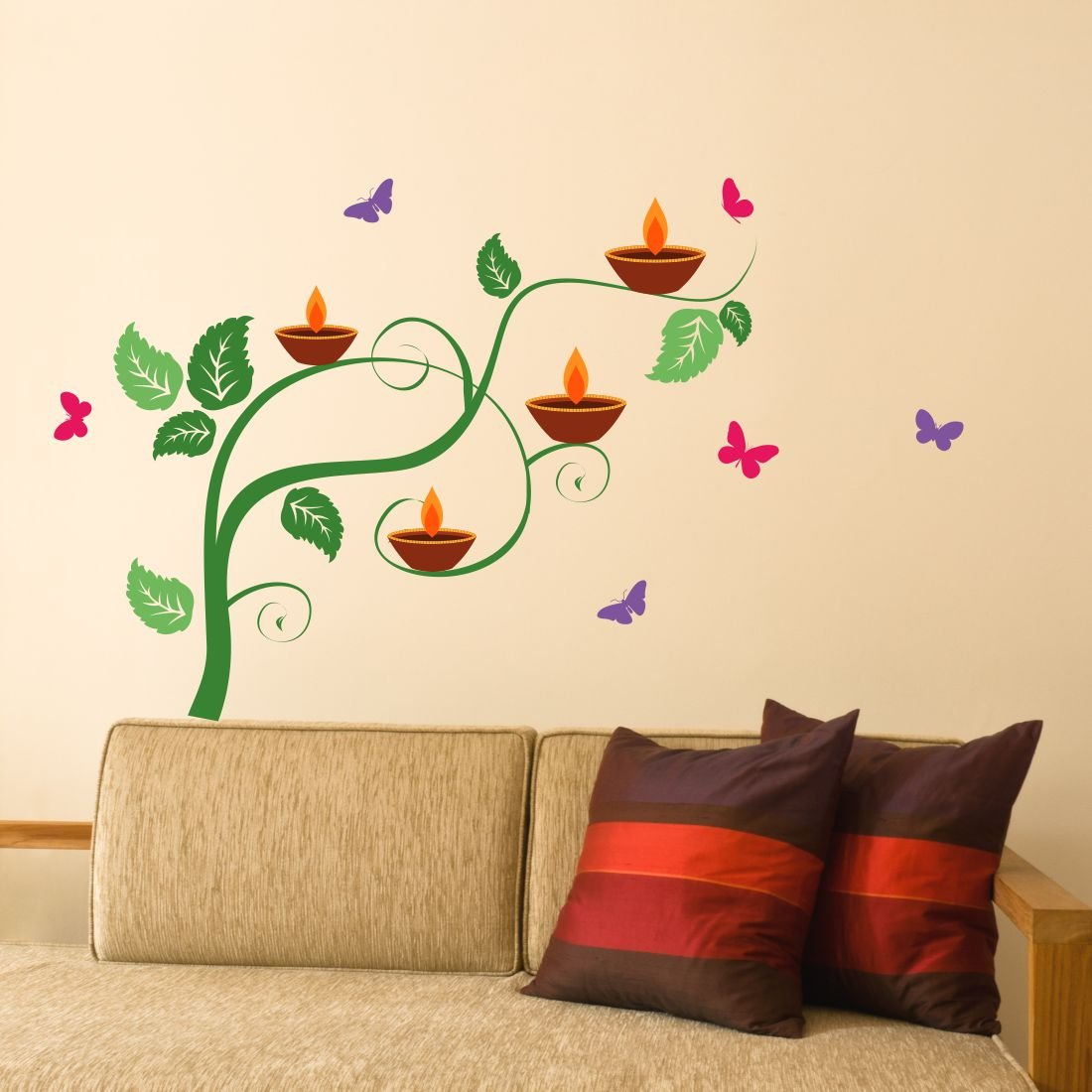 Buy Asian Paints Wall Ons Diya On A Tree With Butterfly Wall Sticker For Living Room Office Hall Bedroom Drawing Room Home Decor Pvc Vinyl 30 48 Cm X 50 80 Cm Online At