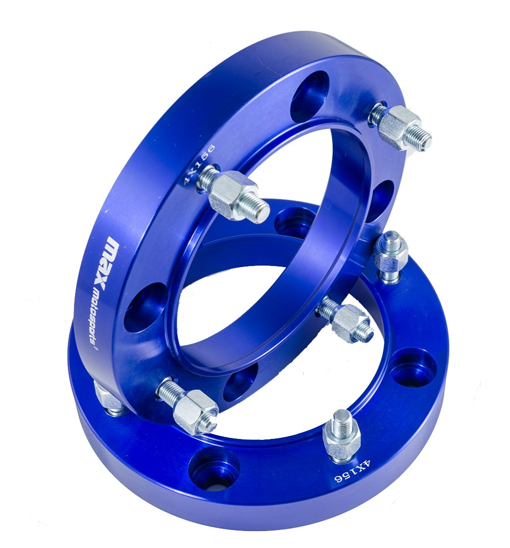 Max Motosports 2pcs 1' 4/156 4x156 ATV Wheel Spacers for Polaris RZR Sportsman Ranger ATV UTV Yamaha (Blue) WP407-601