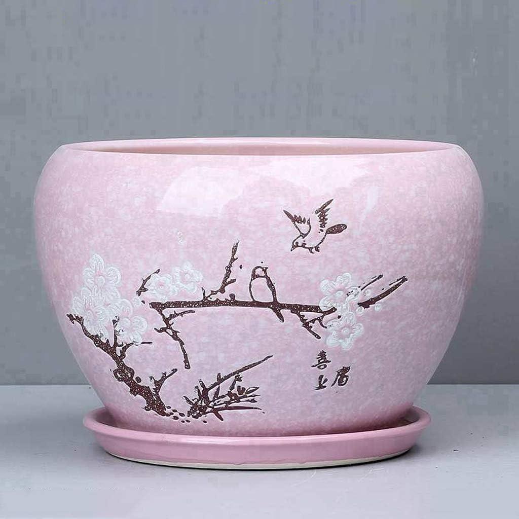 PLL Einfache grüne Stiel-Orchideen-Keramik-Topf-kreatives Hauptabsorbierendes Breathable Balkon, der rosa Blumentopf (Size : L)