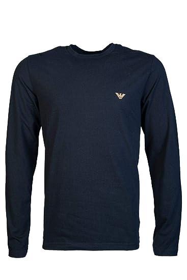 615ce885 Emporio Armani Men Round Neck Long Sleeve T Shirt 111653 8A595 Size S  Black: Amazon.co.uk: Clothing