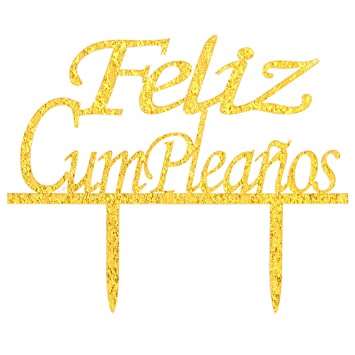 INNORU Feliz Cumpleaños Cake Topper - Happy Birthday Cake Toppers - Gold
