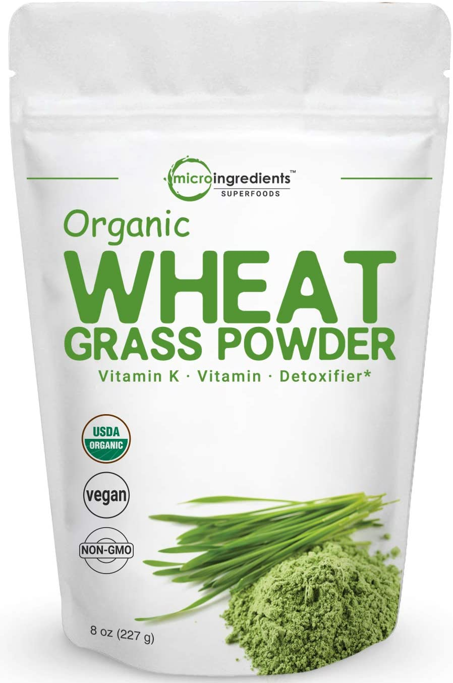 Sustainably US Grown, Organic Wheat Grass Powder, 8 Ounce (75 Serving), Rich in Immune Vitamins, Fibers, Fatty Acids and Minerals, Support Immune System and Digestion Function, Vegan Friendly