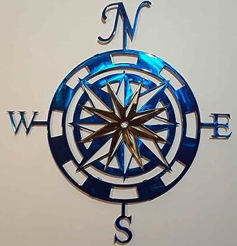 Compass Rose Metal Wall Art 24quot X 22quot Blue Gold