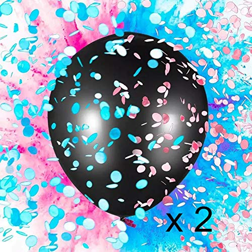 U-Hotmi 36 Inch Big Black Gender Reveal Balloon for Boy or Girl Twins Baby Shower Gender Reveal Party Decoration -