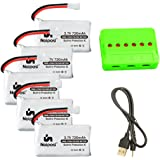 Noiposi 3.7v 720mah 25c Lipo Battery 5 PCS with X6 Charger for UDI U45 Syma X5 X5c X5C-1 X5SW X5SC X5SC-1 Protocol Dronium Two Cx-30W Cx-31 Quadcopter
