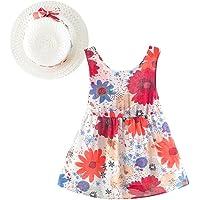PAOLIAN Conjuntos para Bebe niñas Verano 2018 Vestido + Sombrero de Paja Impresion de Floral Fiestas Cuello Redondo Monos Sin Manga de 6 Meses 12 Meses 18 Meses 24 Meses